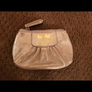 Champagne Coach Leather Change Purse